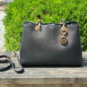Michael Kors Cynthia Satchel Handbag Black & Gold